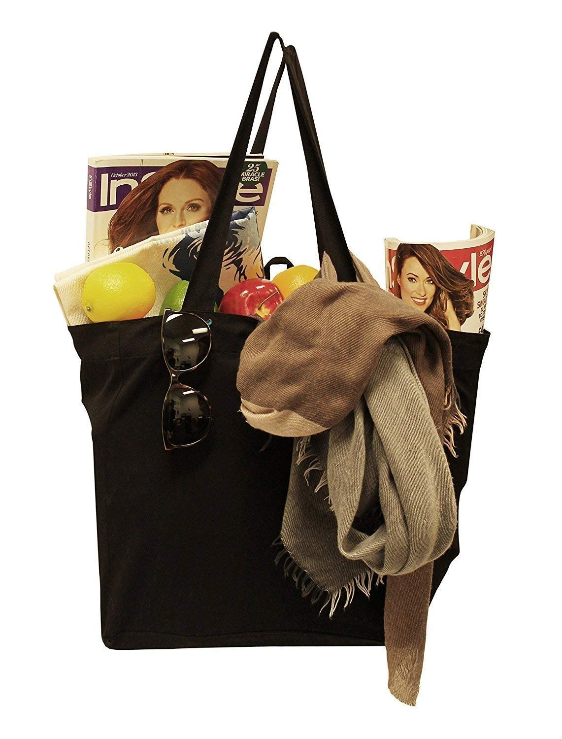 197b16e456cb Amazon.com  Earthwise Reusable Grocery Bag Shopping Tote 100% Natural  Cotton Canvas in Black (Set of 3) (Black)  Kitchen   Dining