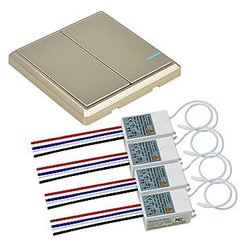 Nineleaf - Interruptor de luz inalámbrico con receptor para exteriores (interior de 1,37 m, mando a distancia, bombilla LED ...