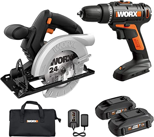 WORX WX941L 20V Cordless Drill Driver WX101L and 20V 5-1 2 Circular Saw WX529L Combo Kit Battery and Charger Included
