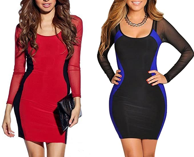 6668c68dcf49 Women's sexy Black Blue Hourglass Mesh Long Sleeves Bodycon Cocktail Party  mini dress at Amazon Women's Clothing store: