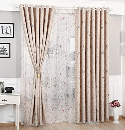 WPKIRA Country Birds Curtain Blackout Curtain Fabric Bedroom Windows and  Curtains Room Darkening Thermal Insulated Solid Grommets Curtains/Drapes ,1  ...