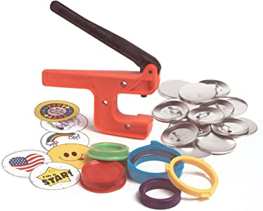 "Badge-A-Minit 2 1/4"" Starter Kit Button Machine with Pin-Back Button Parts and Designs"