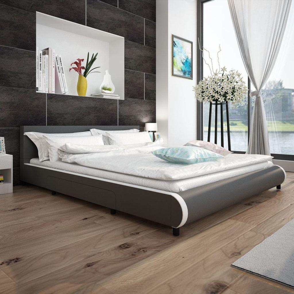 tidyard Lit en Cuir Artificiel avec 2 Tiroirs Construction Solide Design Moderne Blanc 140 x 200 cm