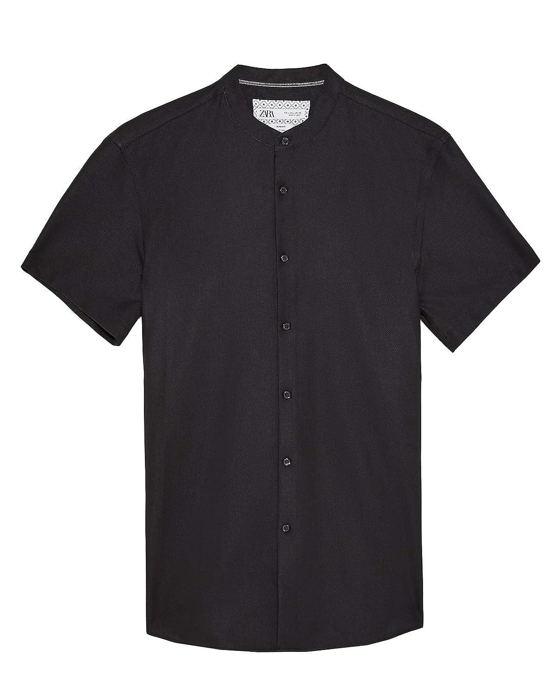 Zara Men Stand-up Collar Textured Shirt 7545//351