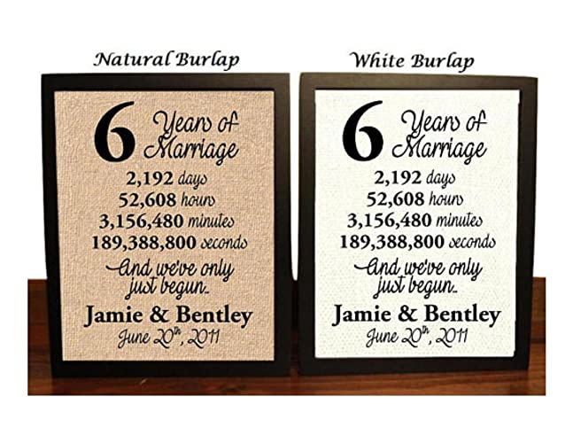 6 Year Anniversary Burlap Print | 6th Anniversary | 6th Anniversary Gift | 6 Years Together | 6th wedding Anniversary | 6th Anniversary gift for her | 6 ...  sc 1 st  Amazon.com & Amazon.com: 6 Year Anniversary Burlap Print | 6th Anniversary | 6th ...