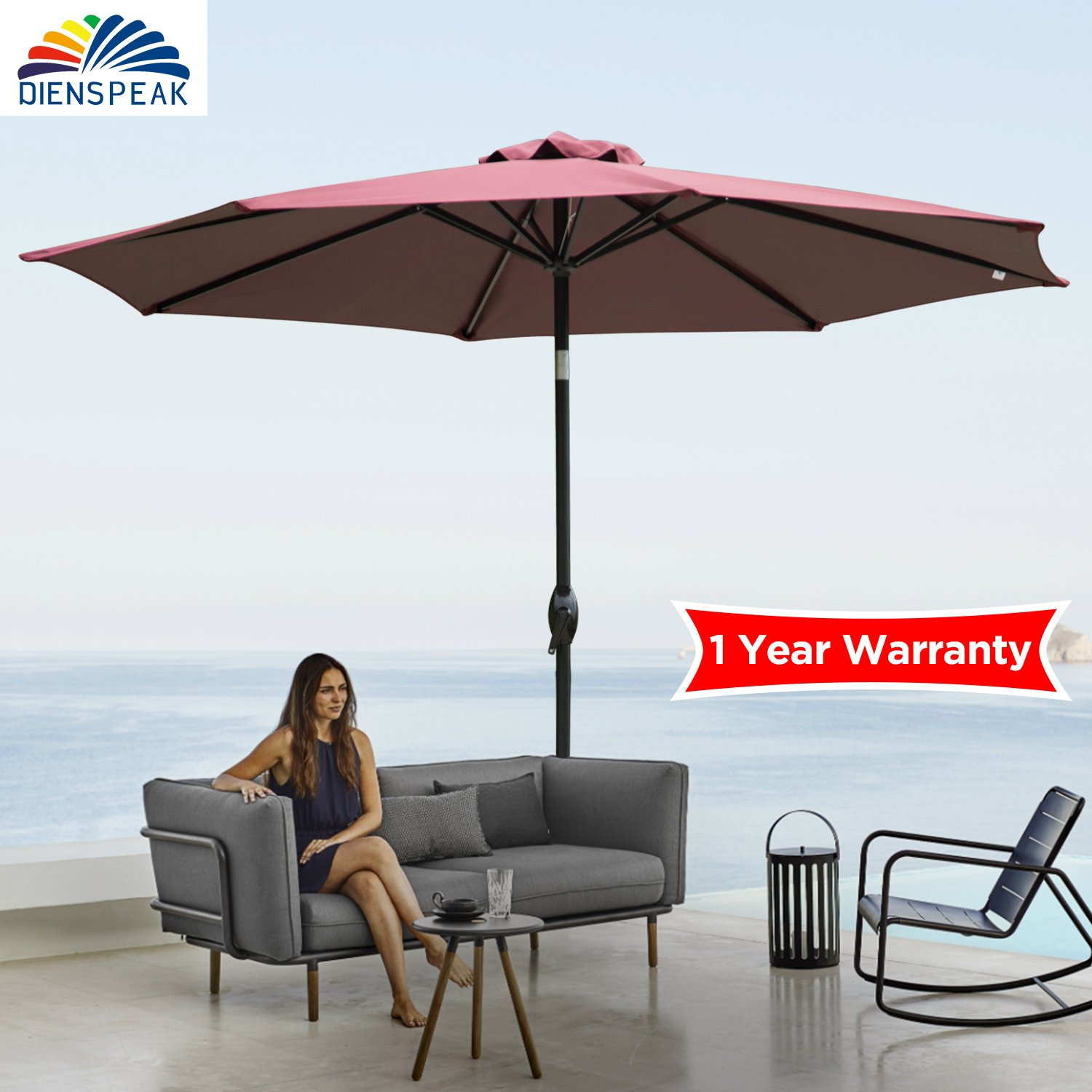 Dienspeak Deluxe 9' Market Outdoor Aluminum Table Patio Beach Umbrella Sunshade 1000 Hours Fade-Resistant with Push Button Tilt and Crank, 250g/sqm Spun Polyester,8 Steel Ribs (burgenty/red)