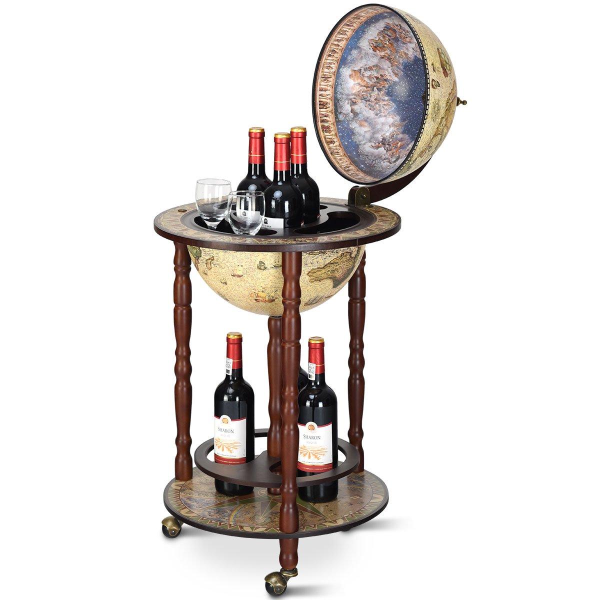 Goplus 17″ Wood Globe Wine Bar Stand 16th Century Italian Rack Liquor Bottle Shelf with Wheels (Retro Brown)