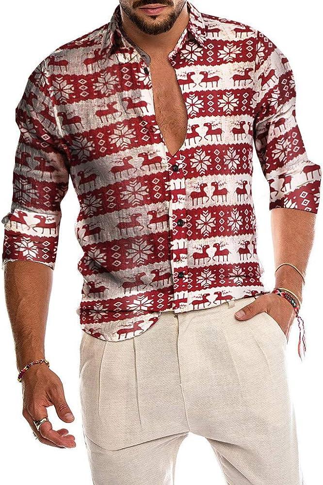 Camisa Hombre Manga Larga con Estampados Camiseta Navideño Informal de Invierno Escote V Blusa Tops de Primavera Casual Ropa de Hombres Tallas Grande: Amazon.es: Ropa y accesorios