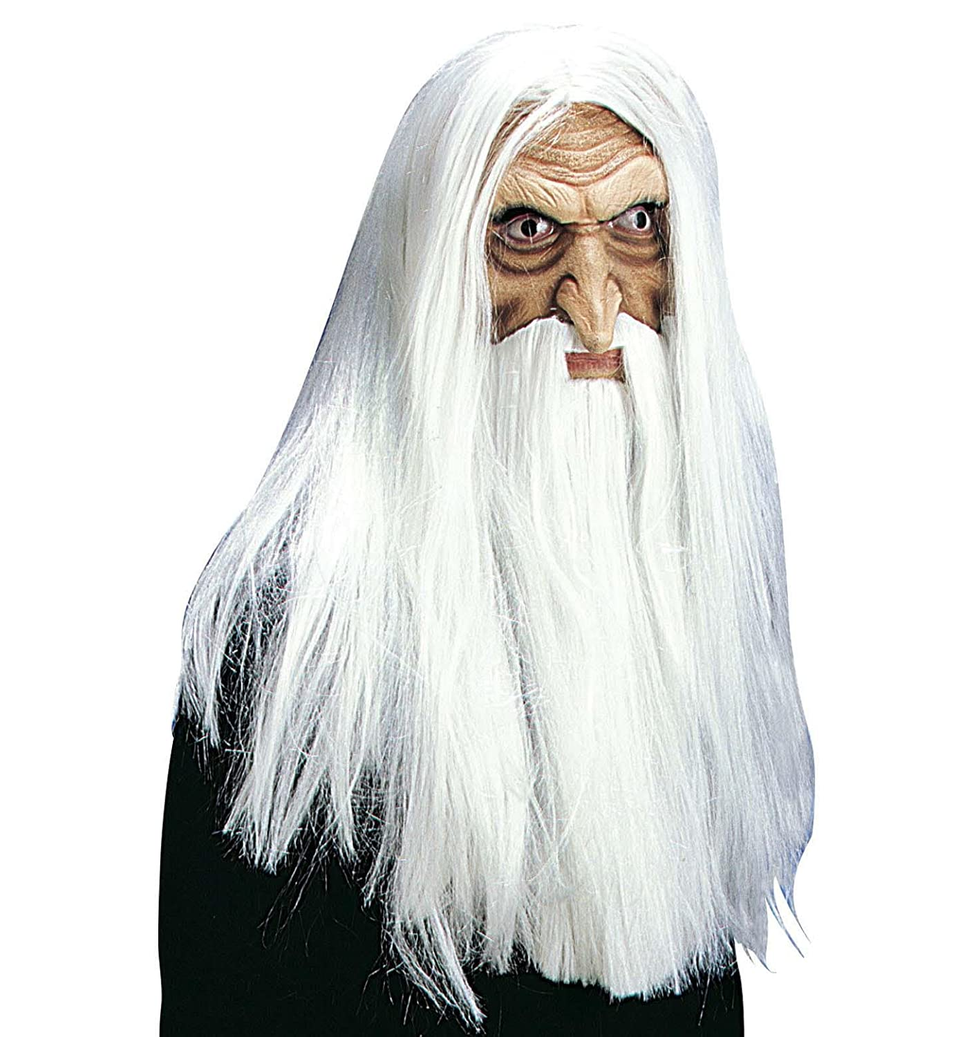 Merlin Magician Mask w/ Beard+Tash Wig for Fancy Dress Costumes ...