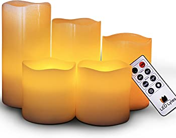 5-Pcs. LED Lytes Flameless Flickering Wax Candles w/ RC Timer Dimmer Light