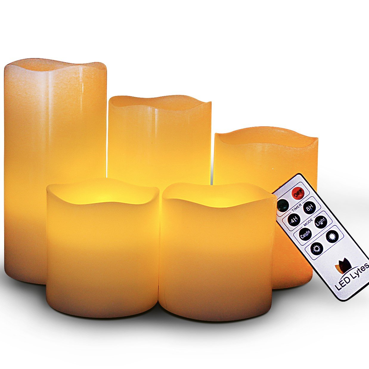 LED Lytes Battery Operated Candles - Large Flameless Candles Set of 5 Round Ivory Wax with Flickering Amber Yellow Flame, auto-Off Timer Remote Control Fake Candle by LED Lytes