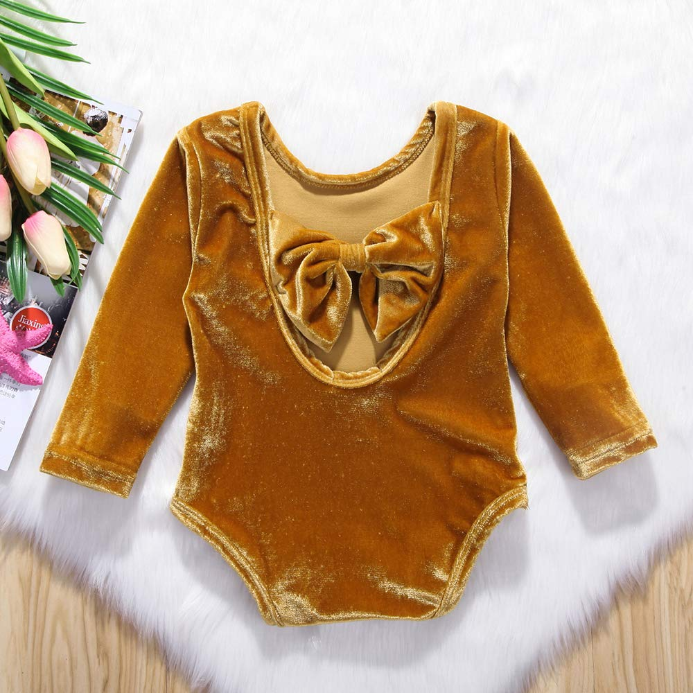 Bilo Store Baby Girls Long Sleeve Velvet Bowknot Backless Jumpsuit Outfits