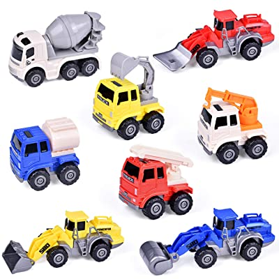 FUN LITTLE TOYS 8 PCs Pull Back Construction Cars, Friction Powered Cars for Kids Party Favors: Toys & Games