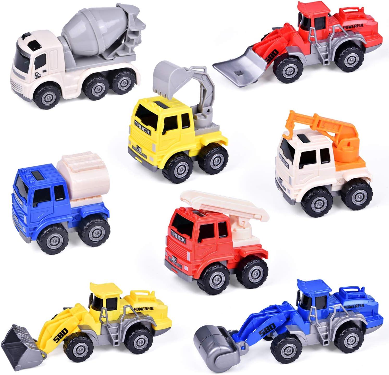 8PCS Kids Diecast Mini Construction Truck Car Toy Digger Excavator Birthday Gift