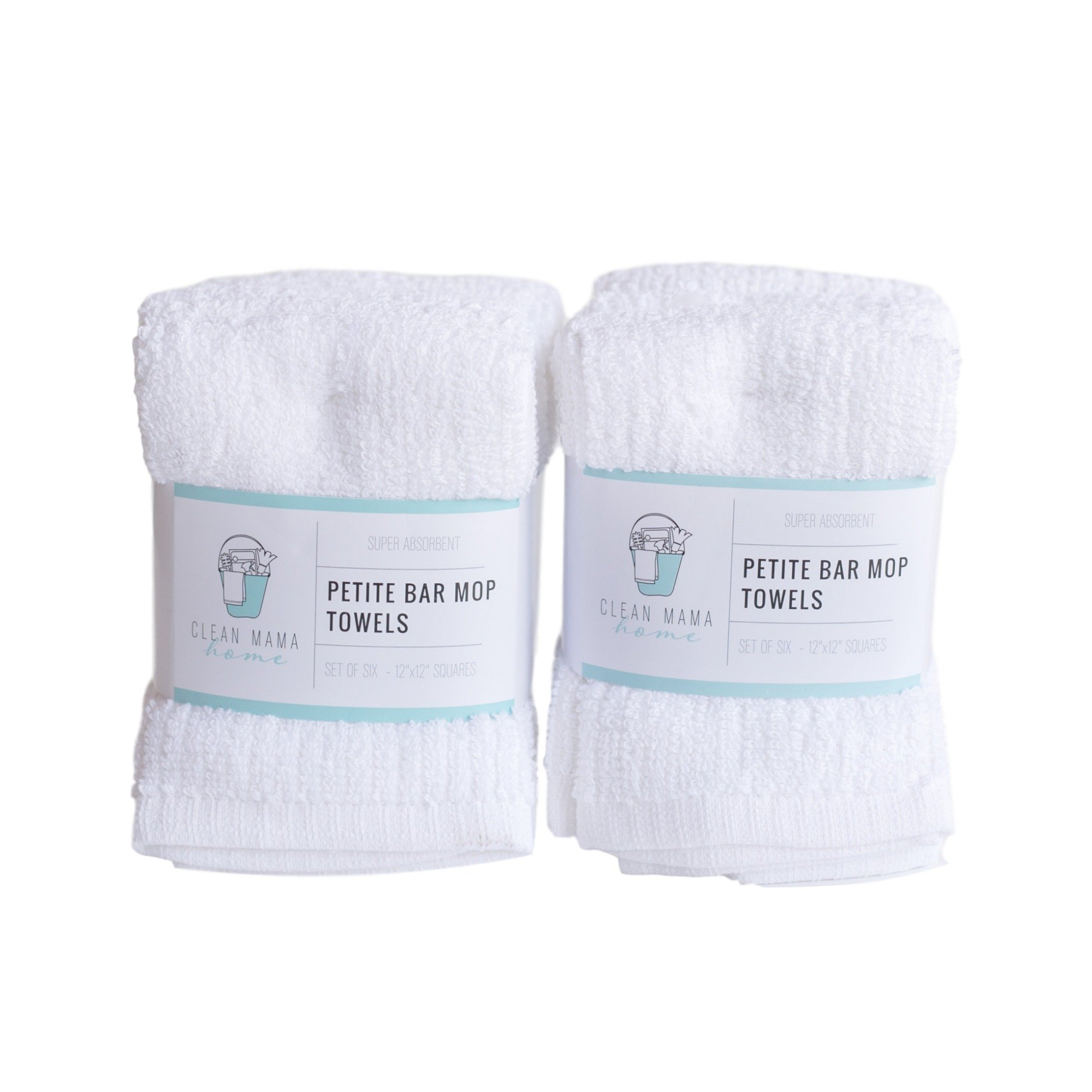 CLEAN MAMA Petite Bar Mop Cleaning Towels, White, Set of 6, 2 sets, 100% Cotton Kitchen Utility Towels