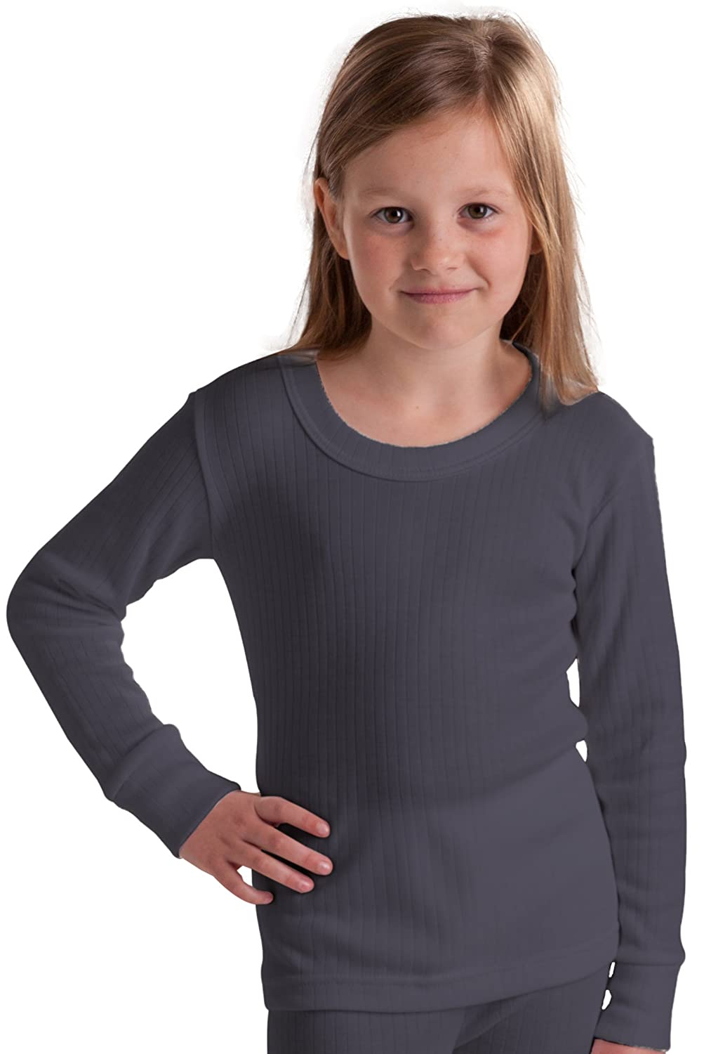 Octave Mädchen Thermo-Langarm-Shirt - extra warm - Made in GB - dunkelgrau - 6-8 Jahre [Brust: 60, 9-66 cm]