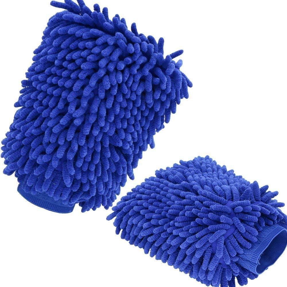 Blue AutoXscan 2PCS Lined with Waterproof Microfiber Wash Mitt for Car Window Washing Home Cleaning Cloth Mitten