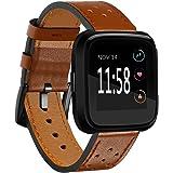 Kartice Compatible Fitbit Versa Bands Women Men, Kartice Replacement and Colorful Leather Bands + Metal Clasp Strap Bracelet Adjustable Wristbands Compatible Fitbit Versa Smartwatch (Brown 2)