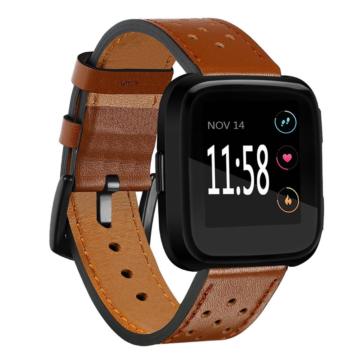 Fitbit Versa Bands Perforated Leather Accessory Band Strap Replacement Wristband for Fitbit Versa Women Men (Brown)