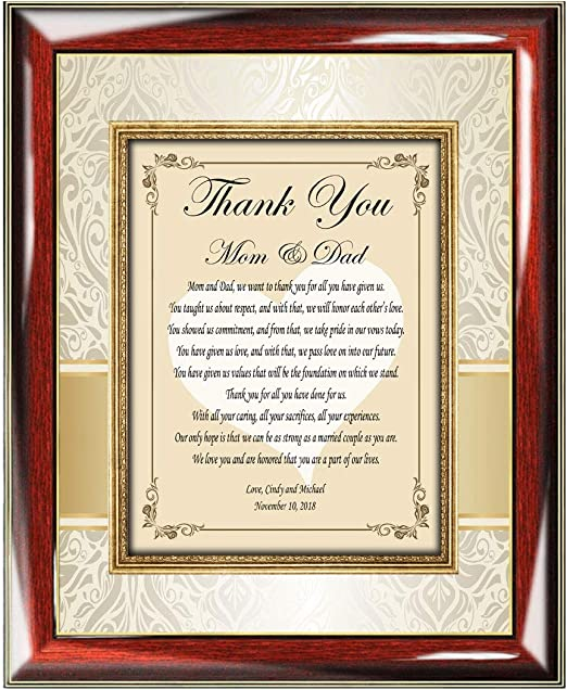 Amazon Com Custom Thank You Poetry Gift Ideas For Parents Bride