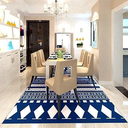 Cqq tapis Tapis de salon simple de style nordique Table de café géométrique  en noir et blanc moderne Chambre Tapis de tapis de chevet ( Couleur : Bleu  ...