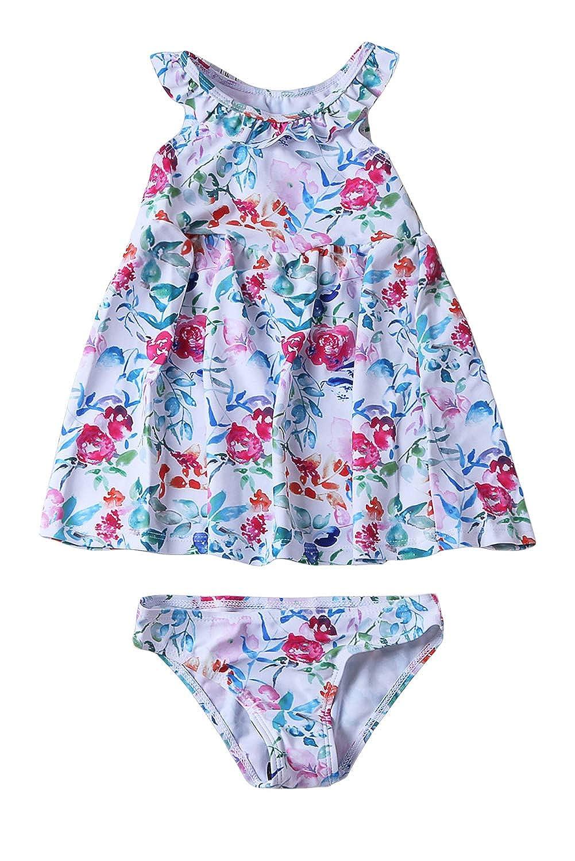 Aleumdr Summer Floral Pattern Ruffle Neckline Toddler Girls Swim Dress with Bottom Age 4-8 Years