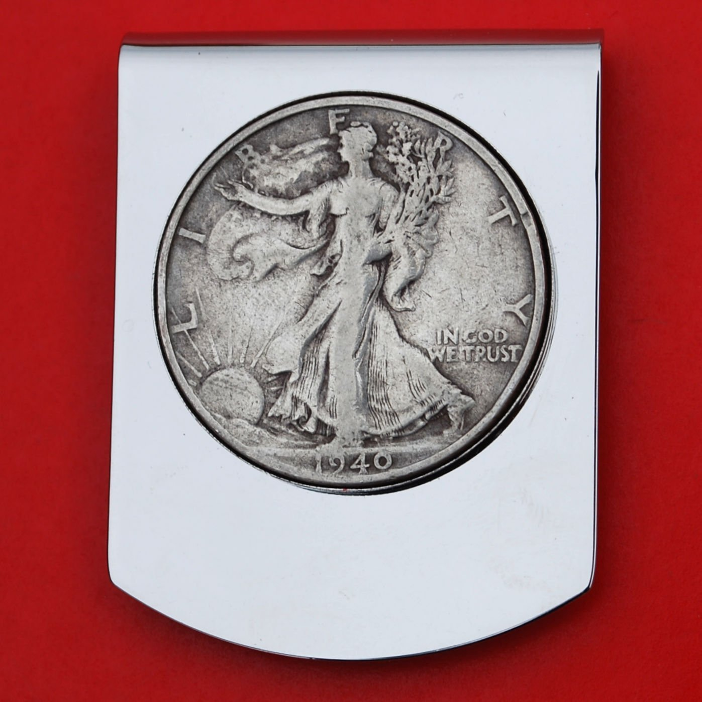 US 1940 Walking Liberty Half Dollar Stainless Steel Large Money Clip NEW Wide Design