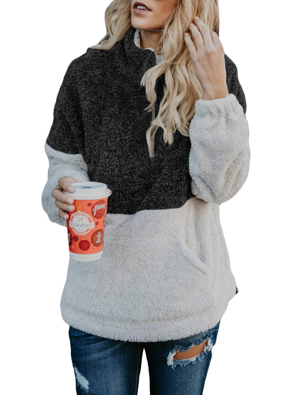 Acelitt Women Ladies Plus Size Cozy Fuzzy Loose High Neck Contrast Fall Fluffy Fleece Pullover Pockets Outerwear Black XX-Large XXL
