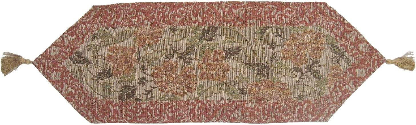 DaDa Bedding Hand-Crafted Elegant Floral Nature Garden Woven Table Runner, Tan Gold Beige, 13 x 38 Inches