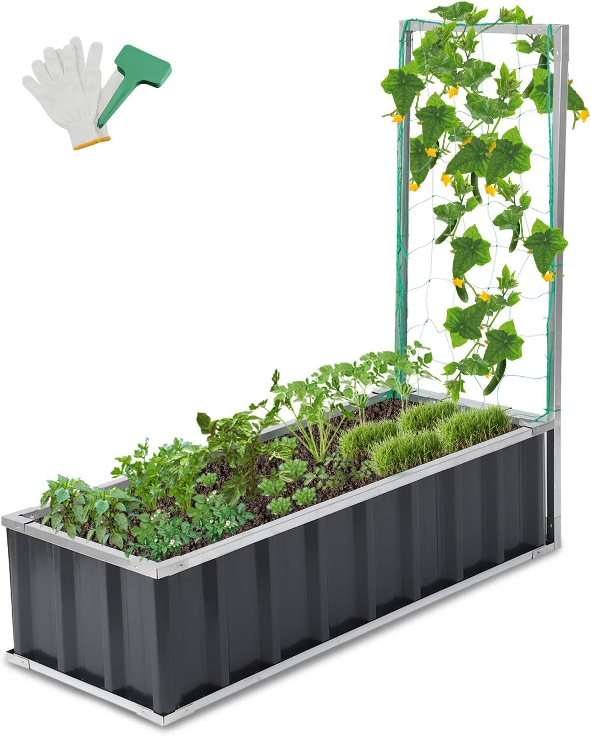 CEED4U 4 L x 1.5 W Feet Metal Raised Garden Bed with Trellis, Planter Box Steel Kit with 15 Packs Plant Labels and 1 Pair of Gloves for Vegetables, Flower, Herbs, Fruits (Dark Grey)