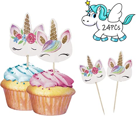 Amazon.com: Unicorn - Decoración para cupcakes de doble cara ...