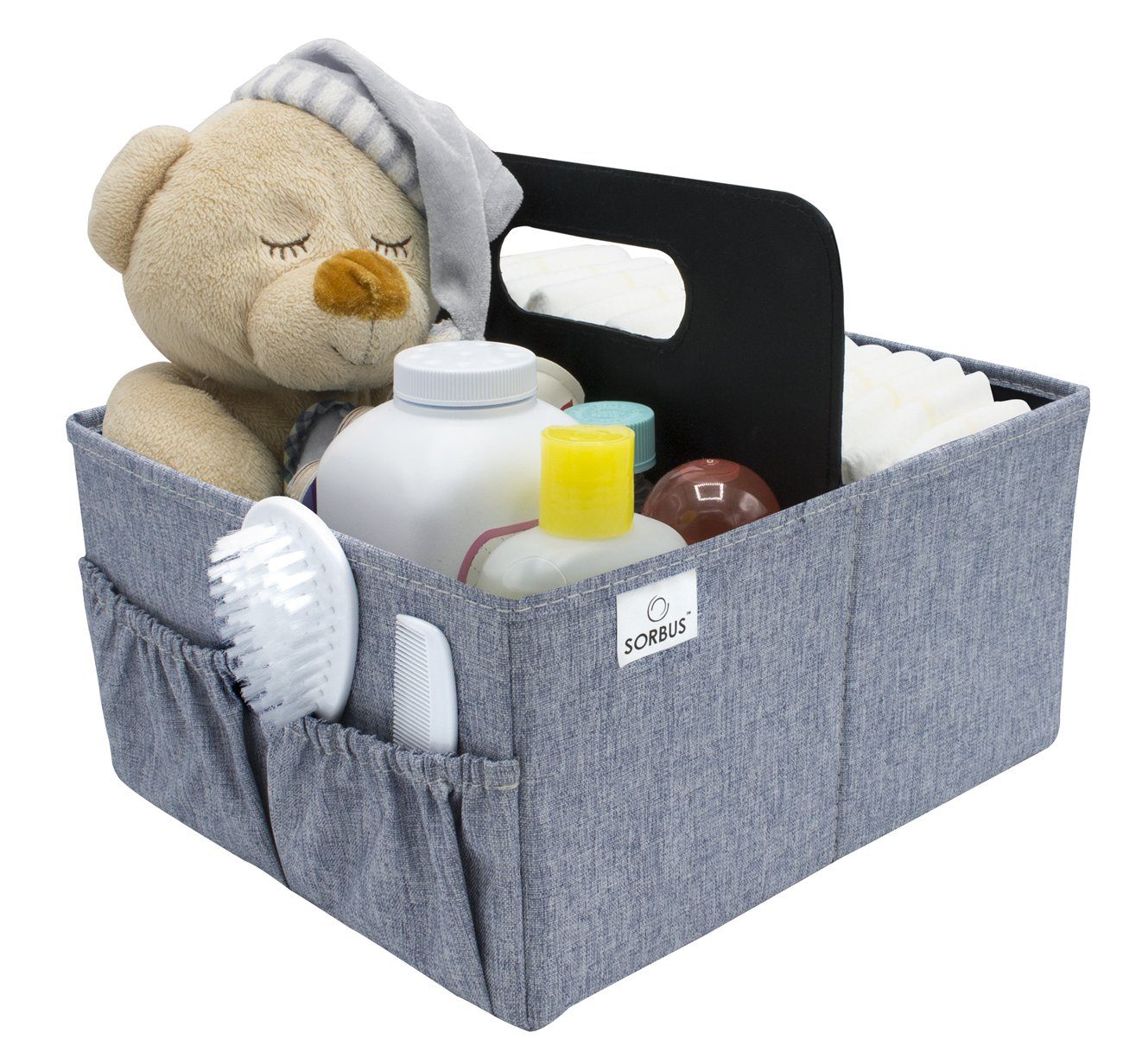 Sorbus Baby Diaper Caddy Organizer | Nursery Storage Bin for Diapers Wipes & Toys | Portable Car Storage Basket | Changing Table Organizer | Great Baby Shower Gift Basket (Blue) STRG-CAD-BA