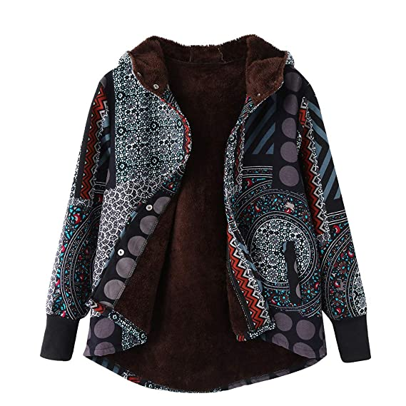 Logobeing Mujer Caliente Abrigos Chaquetas Suéter Jersey Mujer Cardigan Mujer Tallas Grandes Cálido Outwear Imprimir Abrigos con Capucha Vintage Hasp: ...