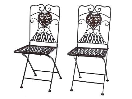 Aubaho 2x Gartenstuhl Paar Stuhl Bistrostuhl Eisen Antik Stil Gartenmobel Braun