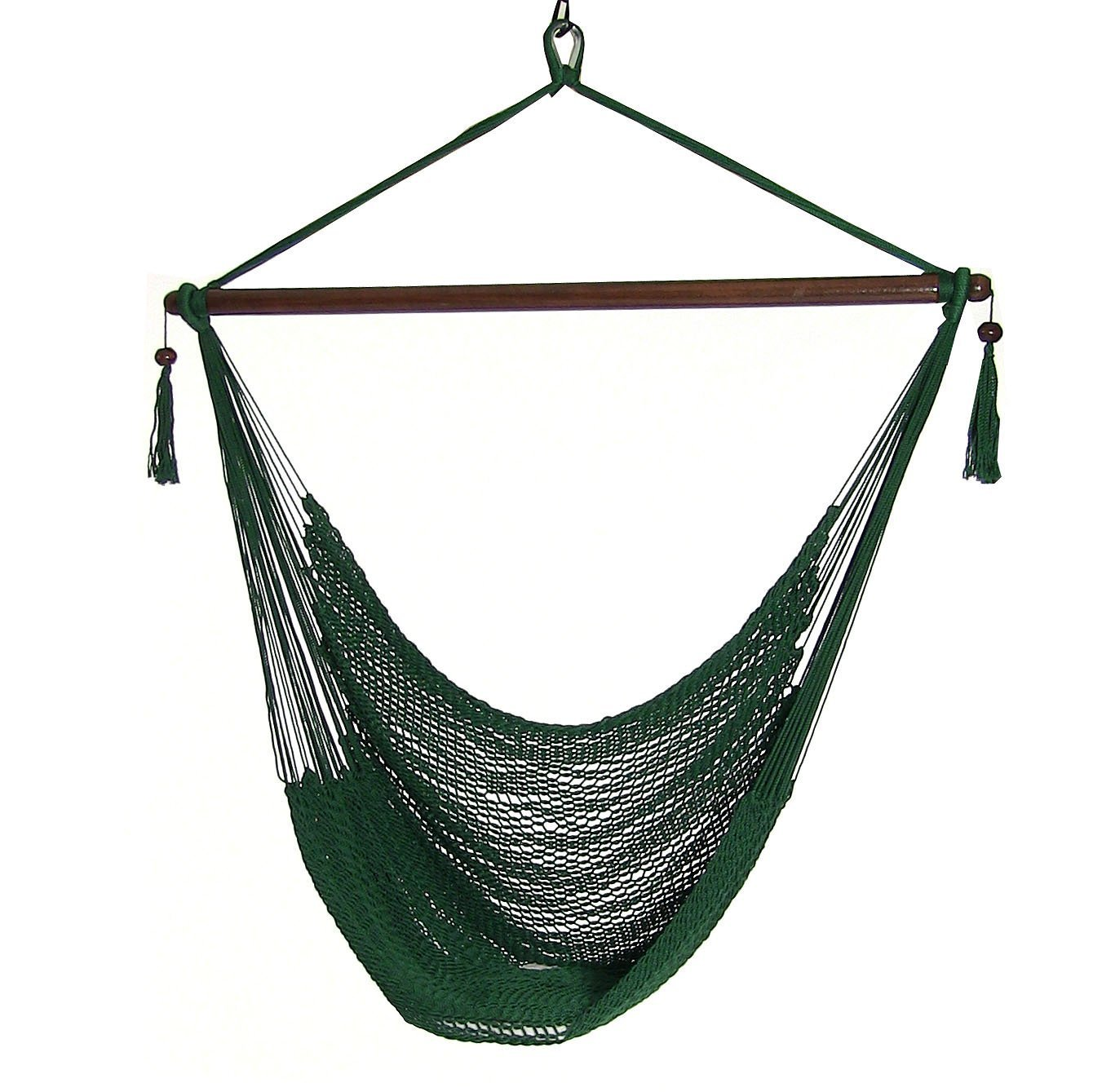 Sunnydaze Hanging Rope Hammock Chair Swing, Extra Large Caribbean, Green Indoor Outdoor Patio, Yard, Porch Bedroom