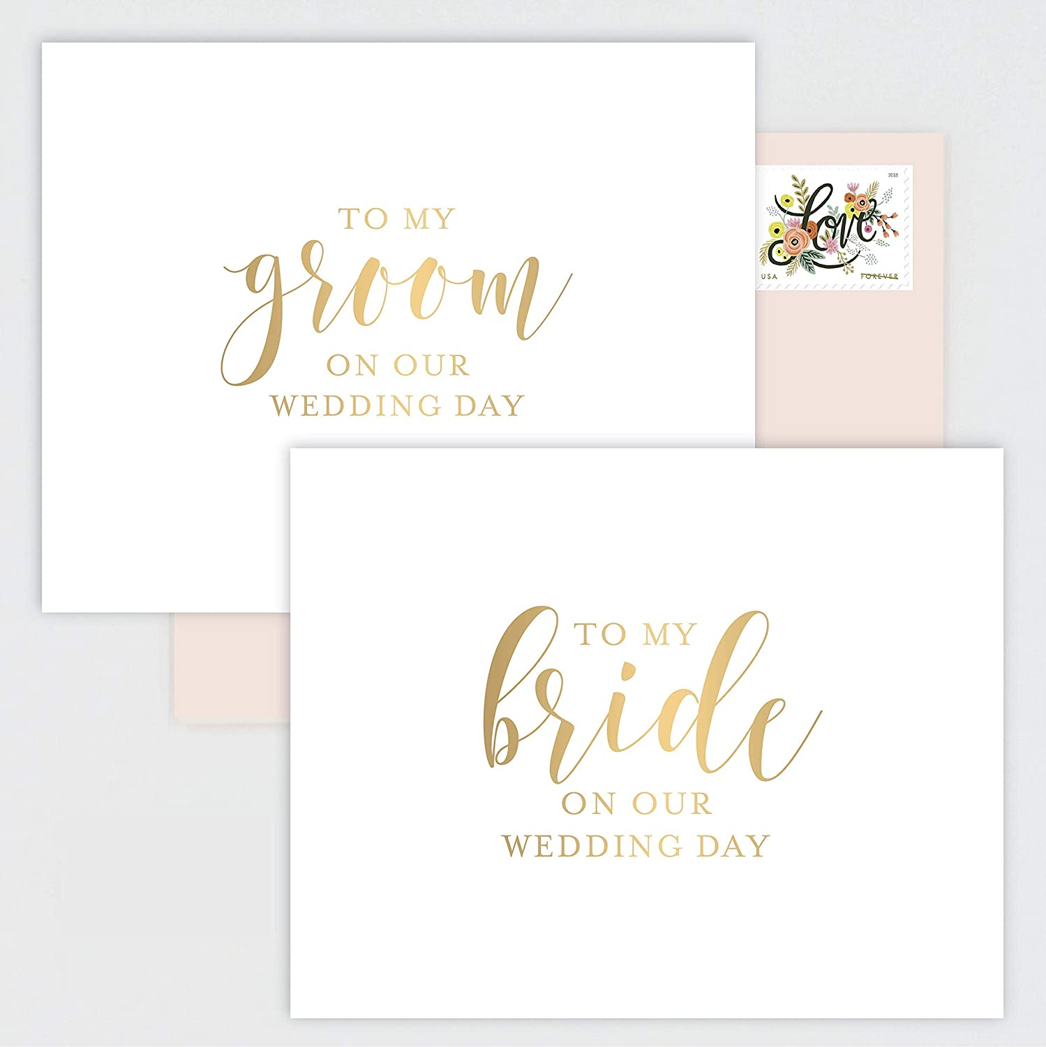 SET OF 2 Wedding Day Cards for Bride and Groom -Matching Gold Foil Calligraphy Cards with Blush Pink Envelopes