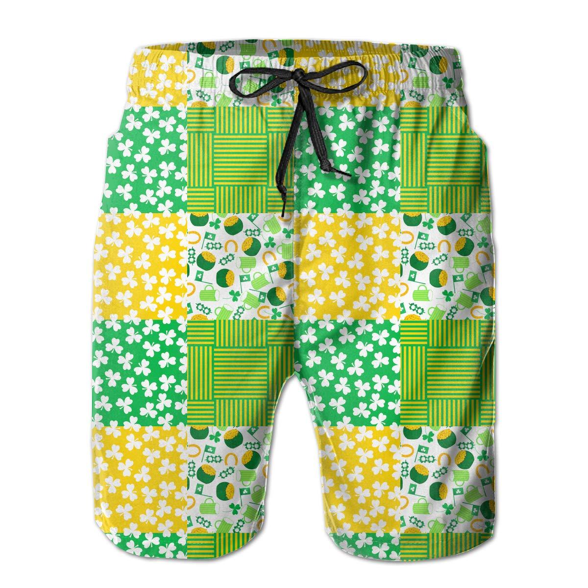 STDKNSK9 Mens St Patricks Day Irish Shamrock Pattern Board Shorts Beach Shorts