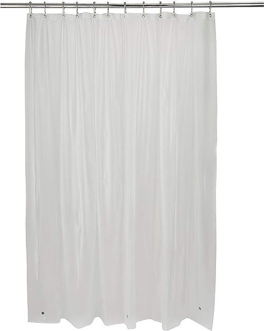 Shower Curtain Liner 100/% Vinyl White 70x72 Magnetic Water Mildew Repellent Bath