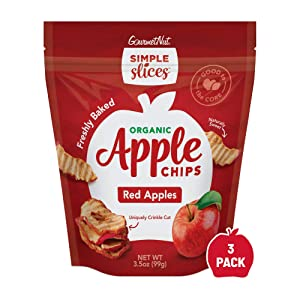 Gourmet Nut Simple Slices Organic Apple Chips (Organic Red, 3pack)