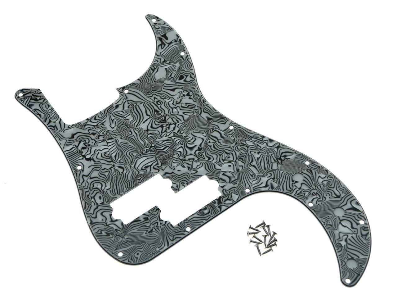 KAISH 13 Hole Precision Bass Pickguard PB P Bass Scratch Plate Fits USA/Mexican Fender Precision Bass Black/White Shell