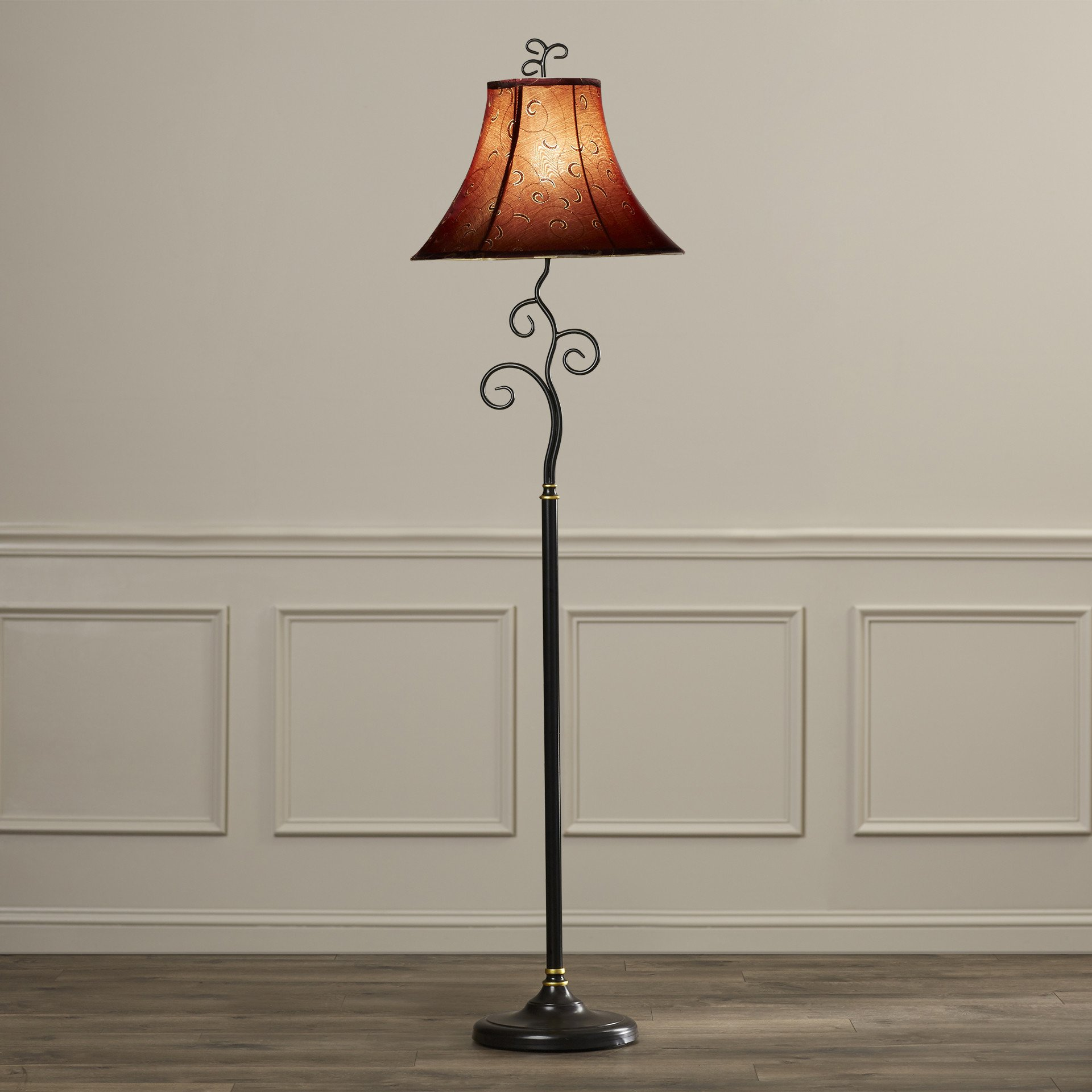 61-Inch Tall Contemporary Floor Lamp with Red / Gold Bell Fabric Shade for Living Room
