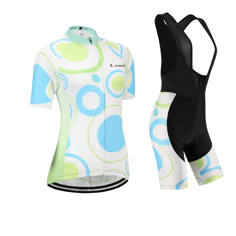 Cycling Jersey Setレディース半袖( S ~ 5 X L、オプション:よだれかけ、3dパッド) n224 B01BX2QJ1C  種類: セット(ブラック前掛け) (General pad)(Bust 43-45inchs)