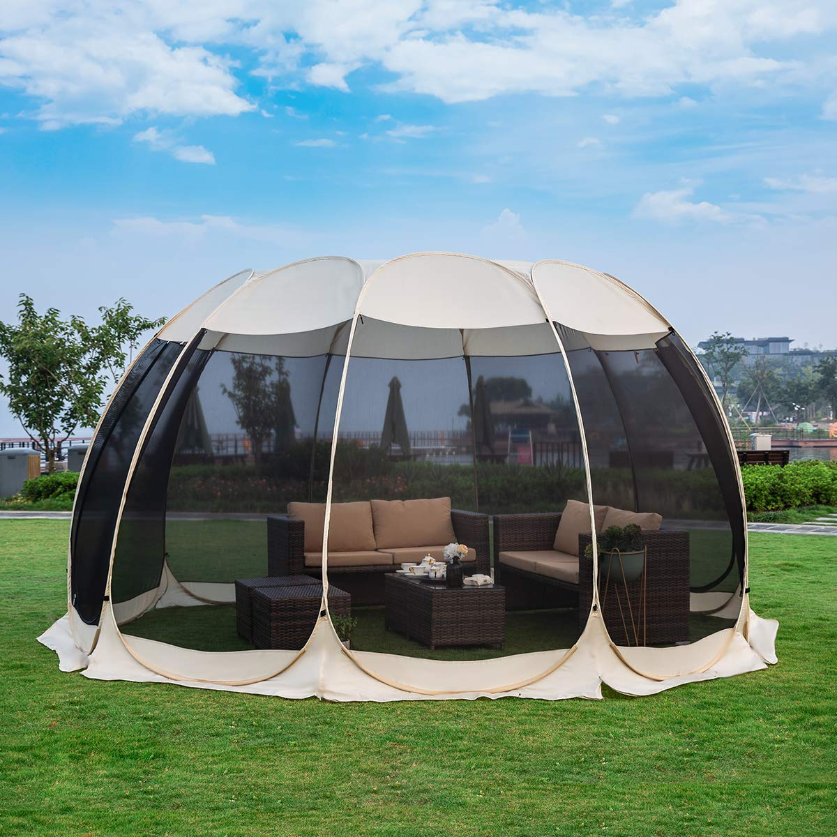 Alvantor Screen House Room Camping Tent Canopy Gazebos 8-20 Person for Patios, Large Oversize Weather Pod, Premium Greenhouse Instant Pop Up Tent, Snow and Rain Protection