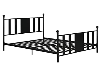 langham full metal bed no box spring required premium sturdy slats w rich - Sturdy Bed Frame Queen