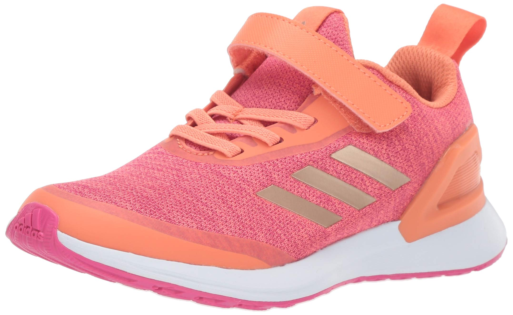 adidas Unisex RapidaRun X EL Running Shoe, Semi Coral/Copper Metallic/Real Magenta, 13K M US Little Kid