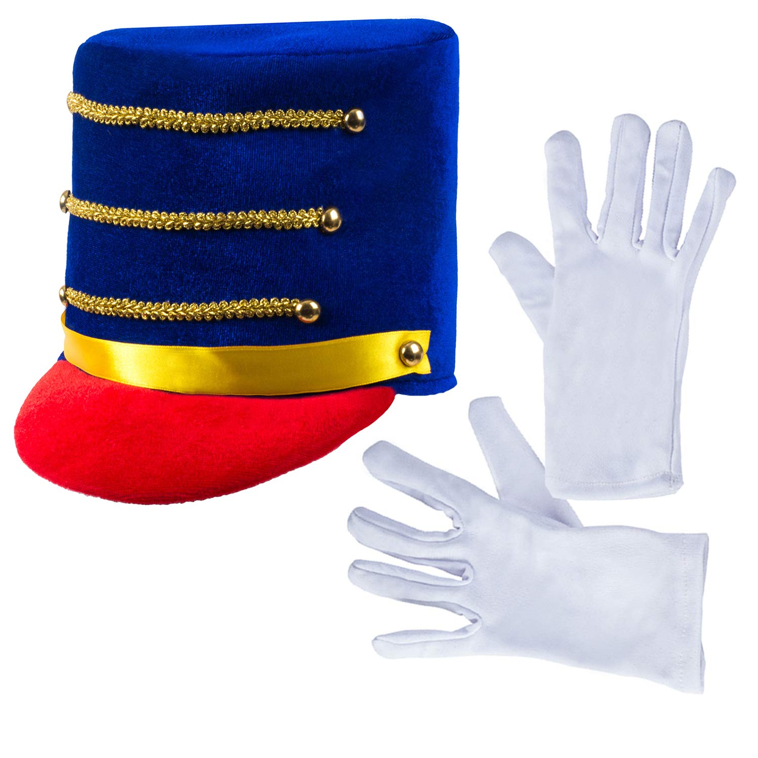 Tigerdoe Marching Band Costume 2 Pc Set Blue Drum Major Hat and Gloves Marching Band Hat Toy Soldier Costume