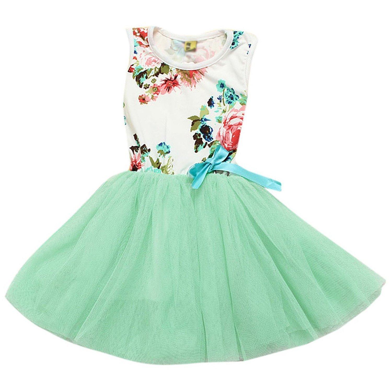 LUQUAN Girls Kid Princess Flowers Print Floral Bow Tutu Top Dress Green,L