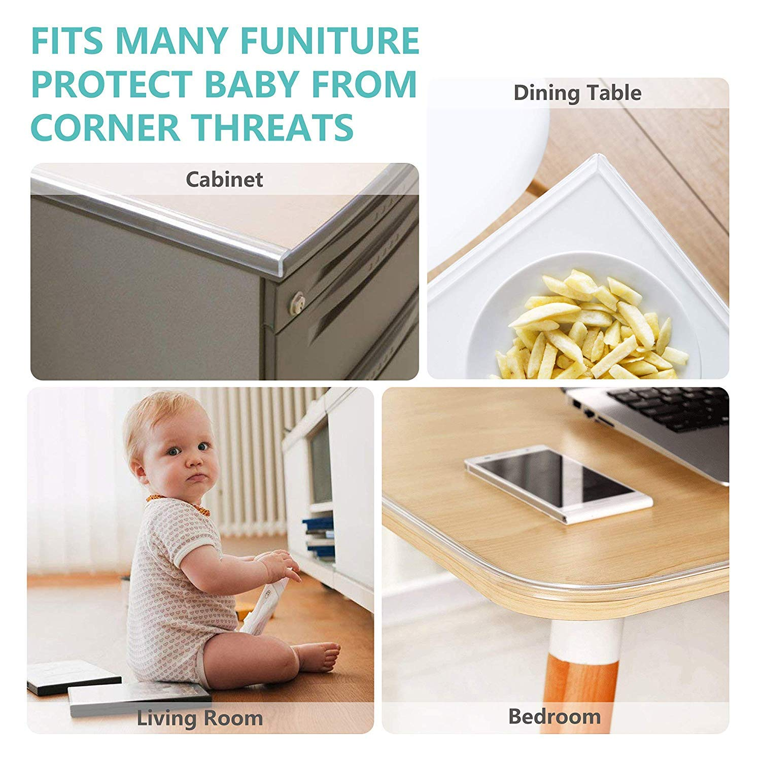 Wemk New Transparent Table Edge Furniture Corner Protectors, 20ft Widen & Thicken Baby Proofing Edge Safety Bumpers Strip, Safety for Child by Wemk (Image #7)