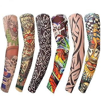 Mangas tatuadas(6 piezas) - Mangas temporales falso tatuaje de nylon - Cuerpo Protector