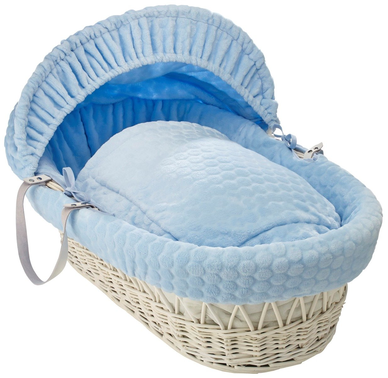 Clair de Lune Marshmallow White Wicker Moses Basket inc. bedding, mattress & adjustable hood (Blue) CL5172WB